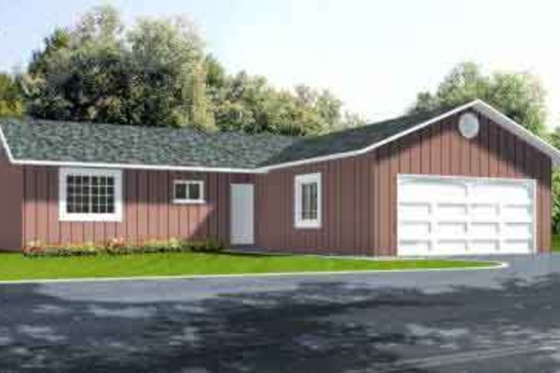 Ranch Style House Plan - 2 Beds 2 Baths 1162 Sq/Ft Plan #1-186 Exterior - Front Elevation