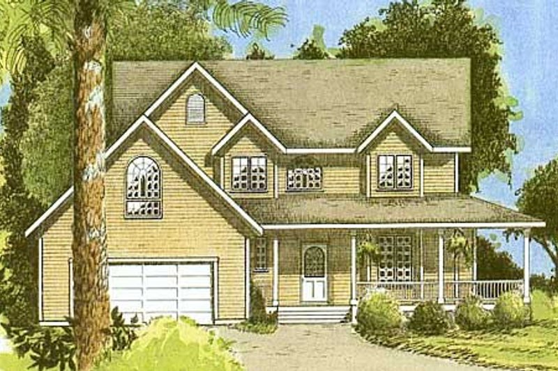 Country Style House Plan - 3 Beds 2.5 Baths 1899 Sq/Ft Plan #409-1112 Exterior - Front Elevation