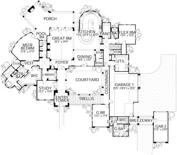 Dream House Plan - Mediterranean Floor Plan - Main Floor Plan #80-215