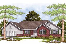 Ranch Exterior - Front Elevation Plan #70-1301