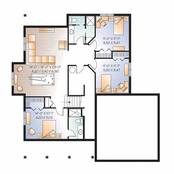 Country Floor Plan - Lower Floor Plan Plan #23-2536