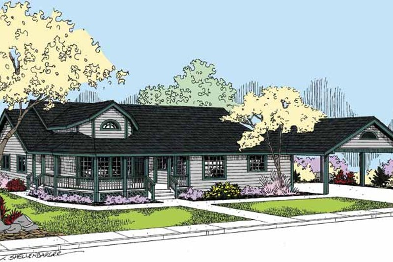 Country Exterior - Front Elevation Plan #60-1011 - Houseplans.com