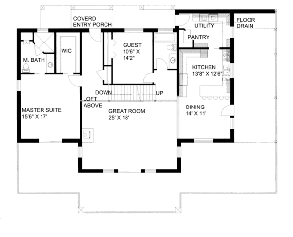 Ranch Floor Plan - Main Floor Plan Plan #117-856