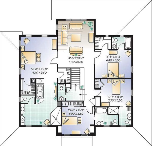 Farmhouse Floor Plan - Upper Floor Plan Plan #23-669