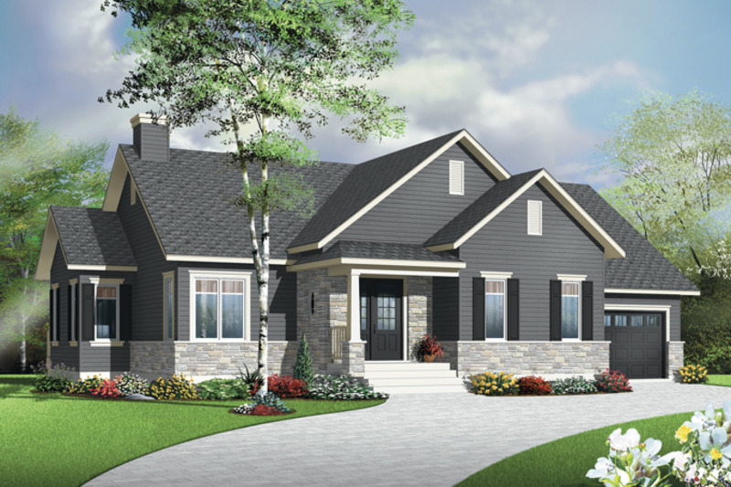 Country Exterior - Front Elevation Plan #23-2570 - Houseplans.com