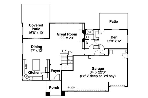 Prairie Floor Plan - Main Floor Plan Plan #124-969