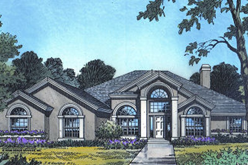 European Style House Plan - 4 Beds 3 Baths 2953 Sq/Ft Plan #417-350 Exterior - Front Elevation