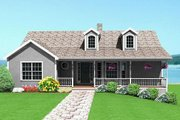 Country Style House Plan - 2 Beds 2 Baths 1493 Sq/Ft Plan #75-116 Exterior - Front Elevation