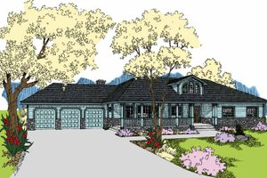 Architectural House Design - Ranch Exterior - Front Elevation Plan #60-1038