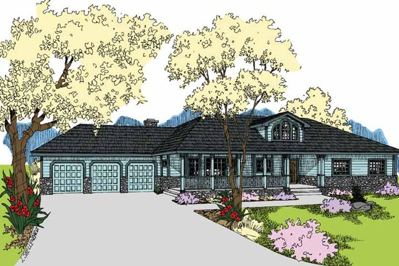 Ranch Exterior - Front Elevation Plan #60-1038