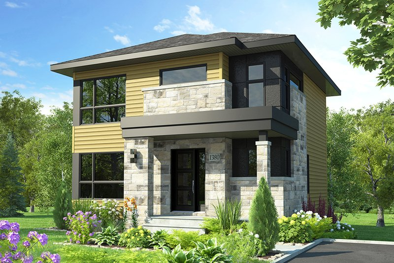 Modern Style House Plan - 3 Beds 1.5 Baths 1525 Sq/Ft Plan #23-2705 Exterior - Front Elevation