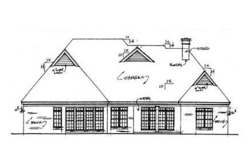 Traditional Exterior - Rear Elevation Plan #34-119 - Houseplans.com