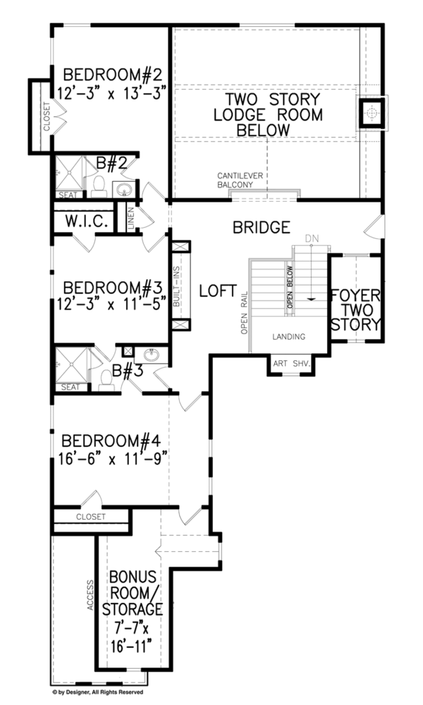 Craftsman Floor Plan - Upper Floor Plan Plan #54-374