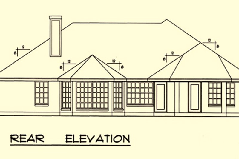 Mediterranean Exterior - Rear Elevation Plan #40-169 - Houseplans.com
