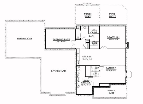 Farmhouse Floor Plan - Lower Floor Plan #1064-113