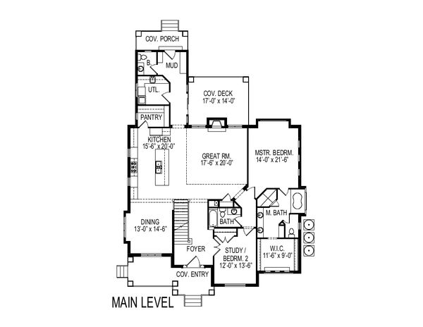 Bungalow Floor Plan - Main Floor Plan Plan #920-99