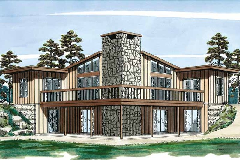House Blueprint - Contemporary Exterior - Front Elevation Plan #47-666