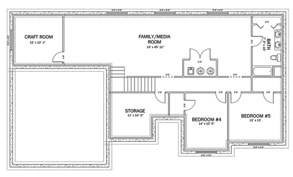 Ranch Floor Plan - Lower Floor Plan Plan #1060-35