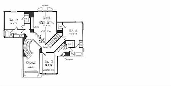 Country Floor Plan - Upper Floor Plan Plan #974-1