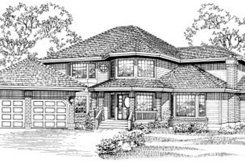 Traditional Style House Plan - 5 Beds 2.5 Baths 3327 Sq/Ft Plan #47-551 Exterior - Front Elevation