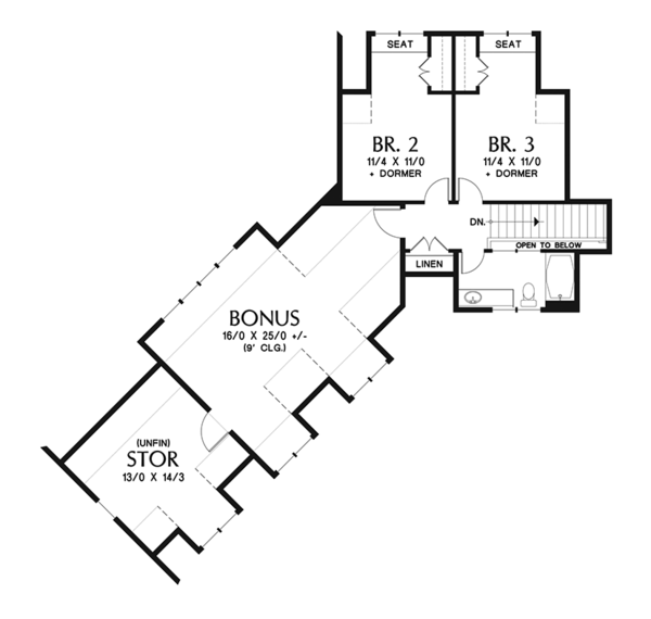 Craftsman Floor Plan - Upper Floor Plan Plan #48-921