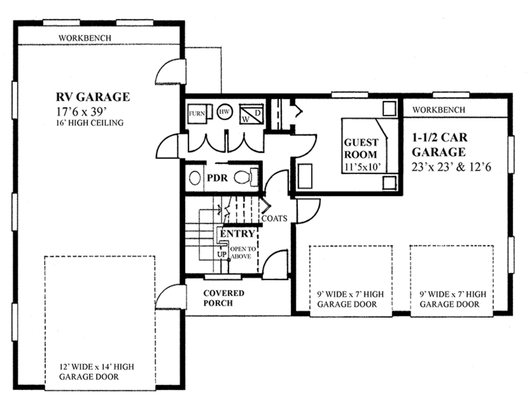 Traditional style house plan 2 beds 1 5 baths 1173 sq ft for How many square feet is a two car garage