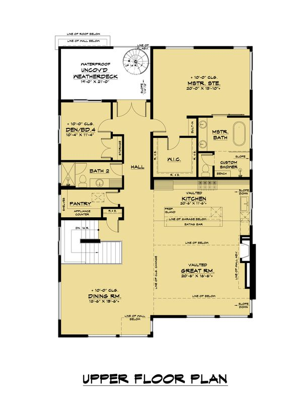 Contemporary Floor Plan - Upper Floor Plan Plan #1066-120