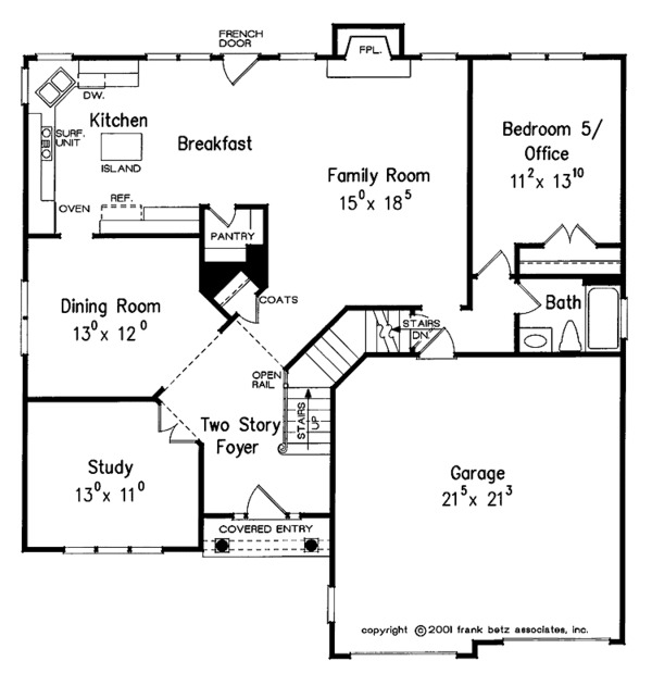 Traditional Floor Plan - Main Floor Plan Plan #927-13