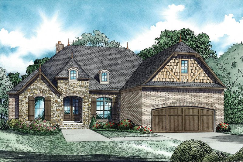 European Style House Plan - 3 Beds 2.5 Baths 2070 Sq/Ft Plan #17-2488 Exterior - Other Elevation