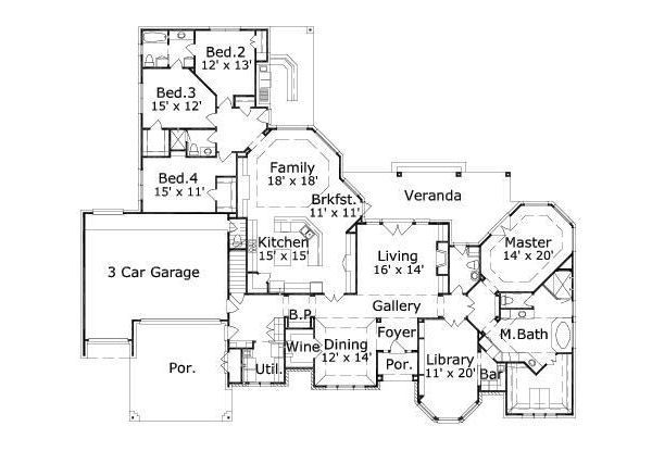 European Floor Plan - Main Floor Plan #411-749