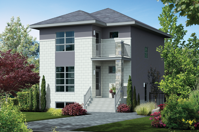 Contemporary Style House Plan - 3 Beds 1 Baths 1536 Sq/Ft Plan #25-4429 Exterior - Front Elevation