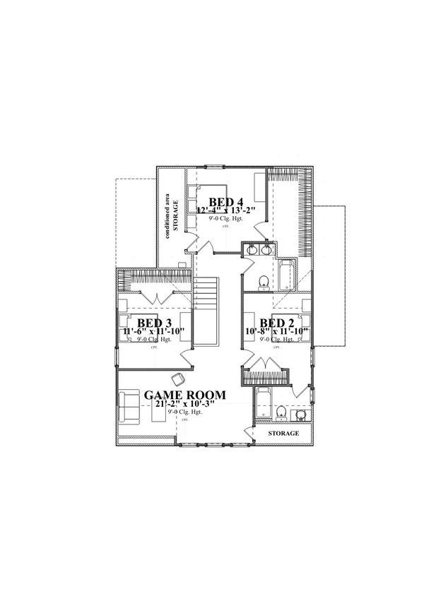 Traditional Style House Plan - 4 Beds 3 Baths 2713 Sq/Ft Plan #63-374 Floor Plan - Other Floor Plan