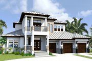 Contemporary Style House Plan - 4 Beds 6 Baths 6300 Sq/Ft Plan #548-21 Exterior - Front Elevation