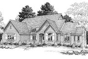 European Style House Plan - 4 Beds 3.5 Baths 3468 Sq/Ft Plan #70-518 Exterior - Front Elevation