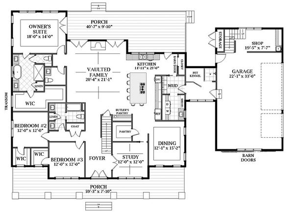 Farmhouse Floor Plan - Main Floor Plan Plan #898-53