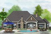 Ranch Style House Plan - 5 Beds 4 Baths 2974 Sq/Ft Plan #929-1050 Exterior - Rear Elevation