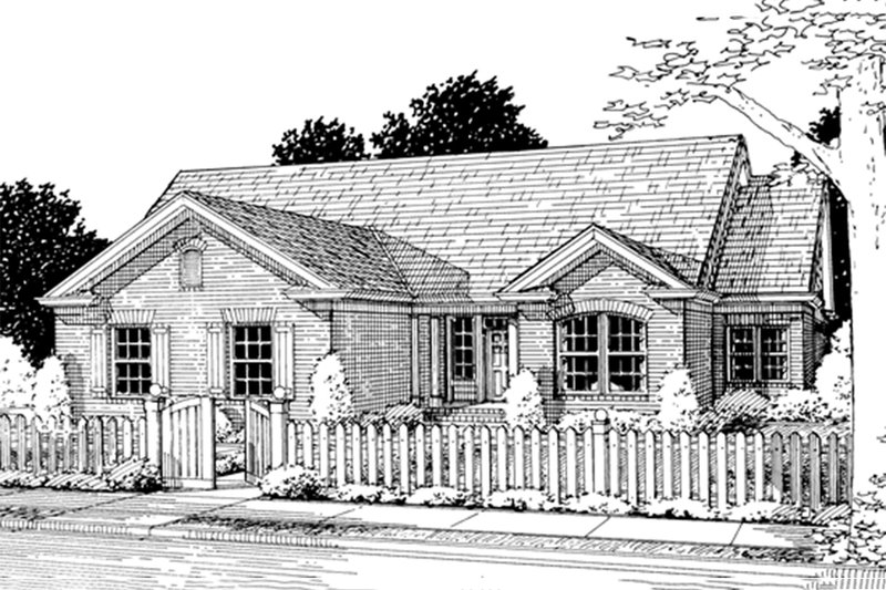 Architectural House Design - Traditional Exterior - Front Elevation Plan #20-372