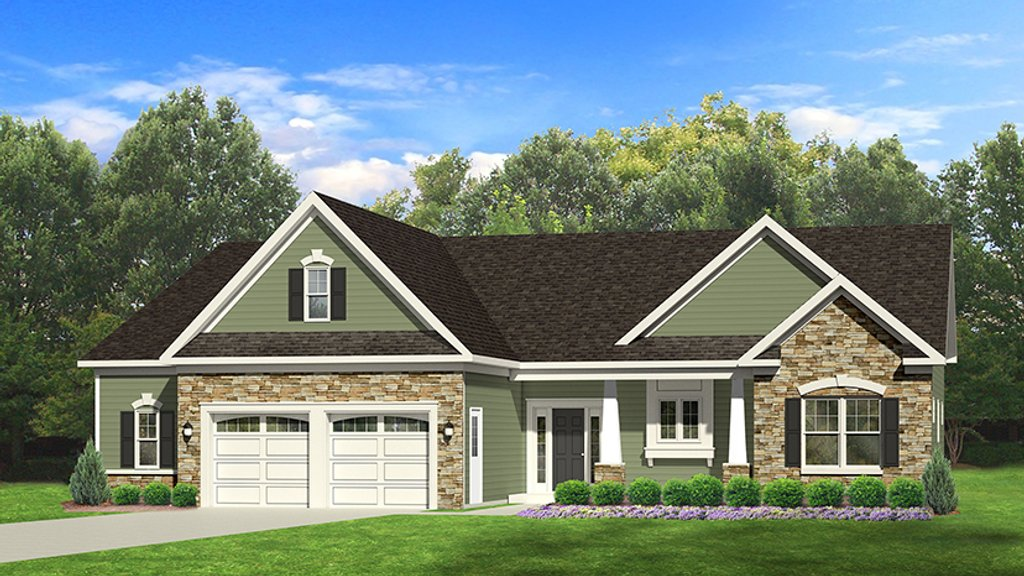 Ranch Style House Plan - 3 Beds 2 Baths 1746 Sq/Ft Plan #1010-100 on