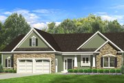 Ranch Style House Plan - 3 Beds 2 Baths 1746 Sq/Ft Plan #1010-100 Exterior - Front Elevation