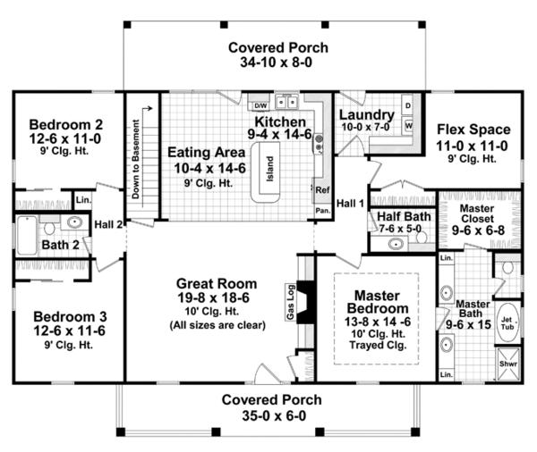 Architectural House Design - Colonial Floor Plan - Main Floor Plan #21-431