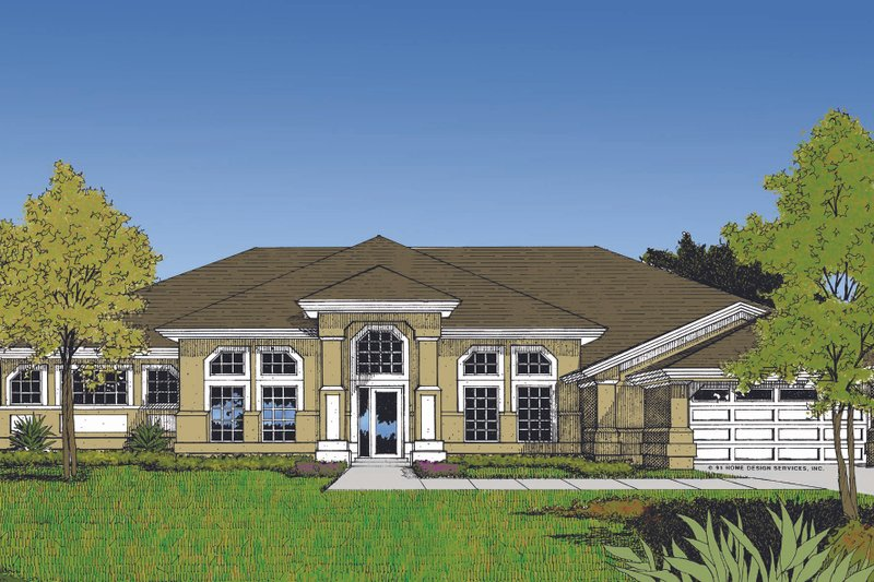 Mediterranean Exterior - Front Elevation Plan #417-498