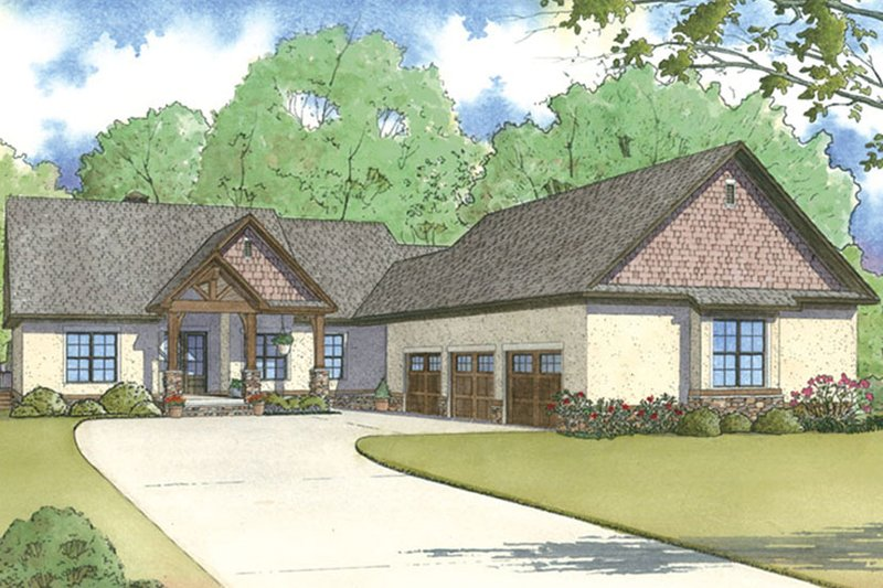 European Exterior - Front Elevation Plan #17-3394