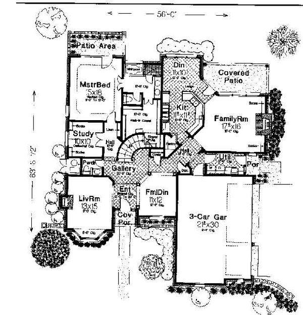 Colonial Floor Plan - Main Floor Plan #310-722