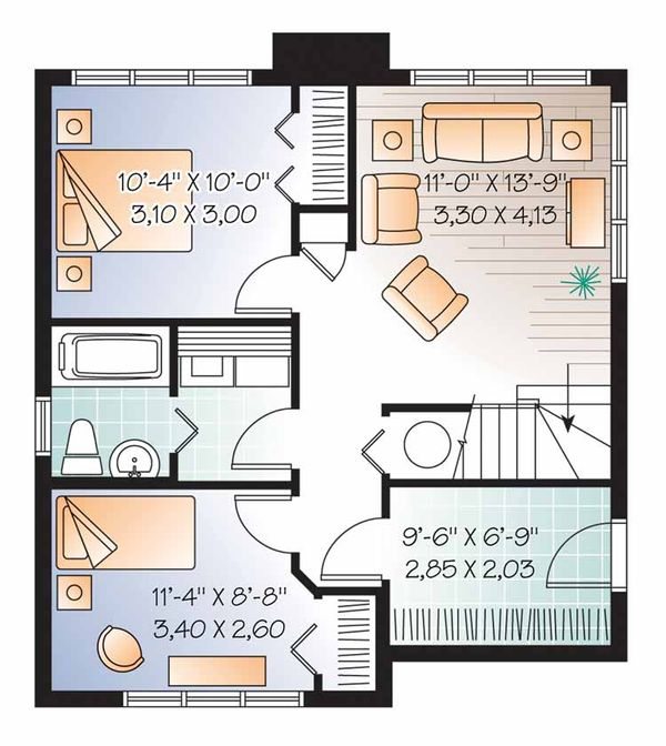 European Floor Plan - Lower Floor Plan Plan #23-2491