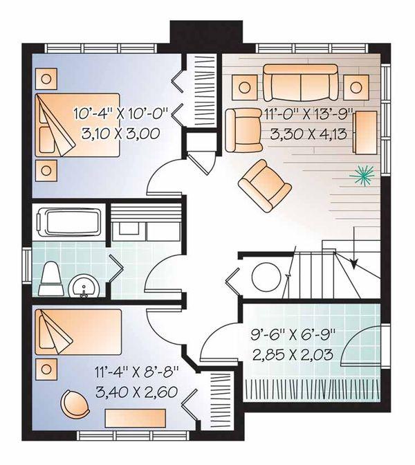 European Floor Plan - Lower Floor Plan Plan #23-2491