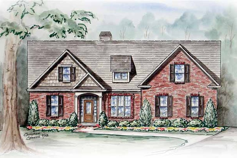 Ranch Exterior - Front Elevation Plan #54-234