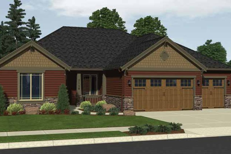 Architectural House Design - Craftsman Exterior - Front Elevation Plan #943-17