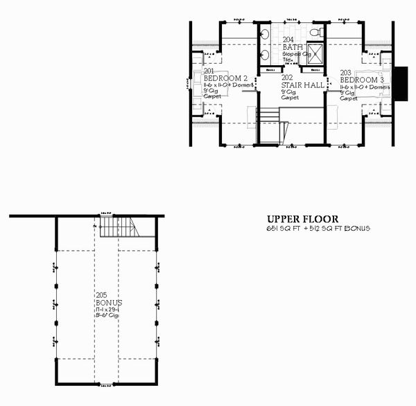 Farmhouse Style House Plan - 3 Beds 2.5 Baths 2218 Sq/Ft Plan #901-103 Floor Plan - Upper Floor Plan