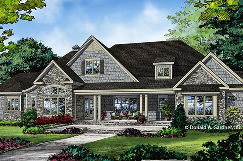 Ranch Style House Plan - 4 Beds 3 Baths 3369 Sq/Ft Plan #929-1019 Exterior - Front Elevation