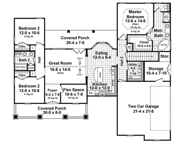 Home Plan - Ranch Floor Plan - Main Floor Plan #21-436